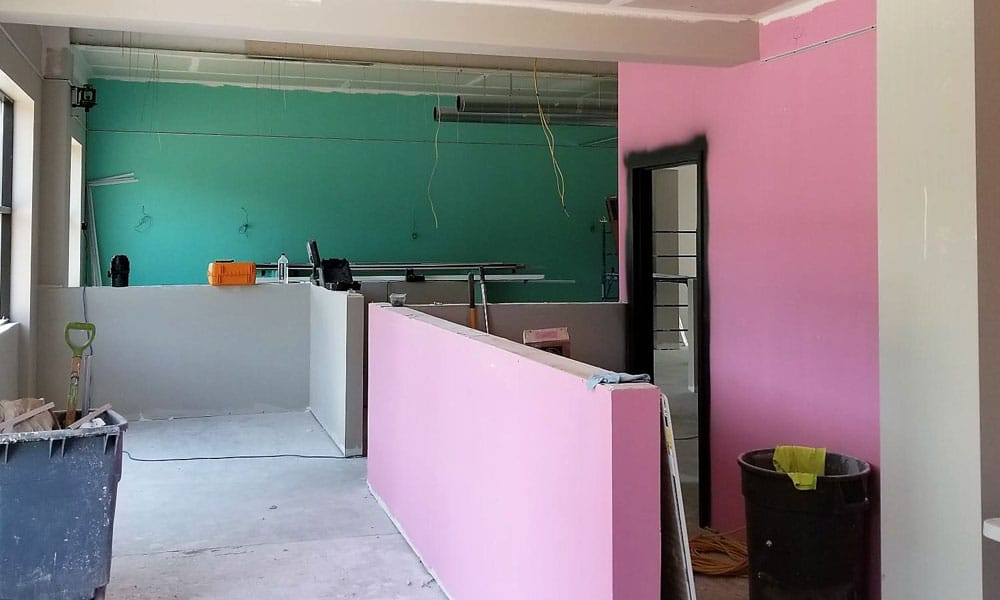 painted walls pink and green